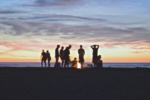 people enjoying a campfire
