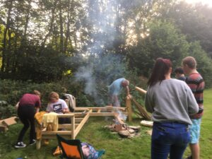 Young People building a bench