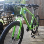 The green bike is ready to ride
