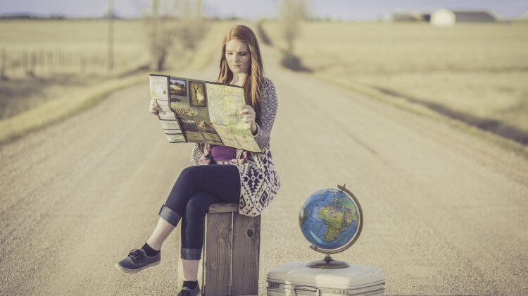 A woman reading a map