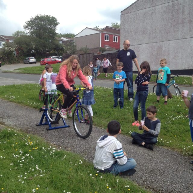 Smoothie bike creating a crowd in Bodmin